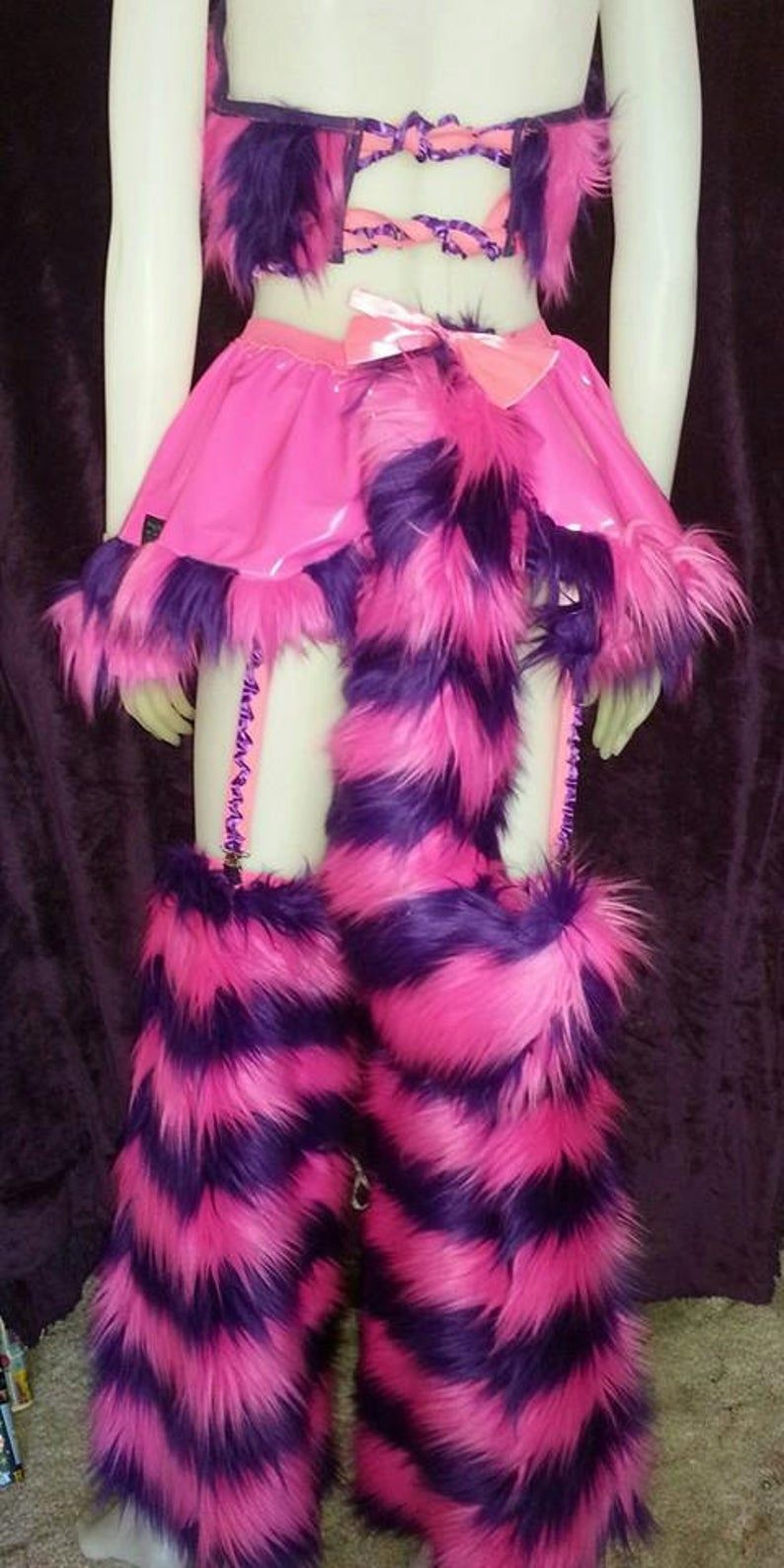 Cheshire cat vinyl / fur skirt with tail festival burning