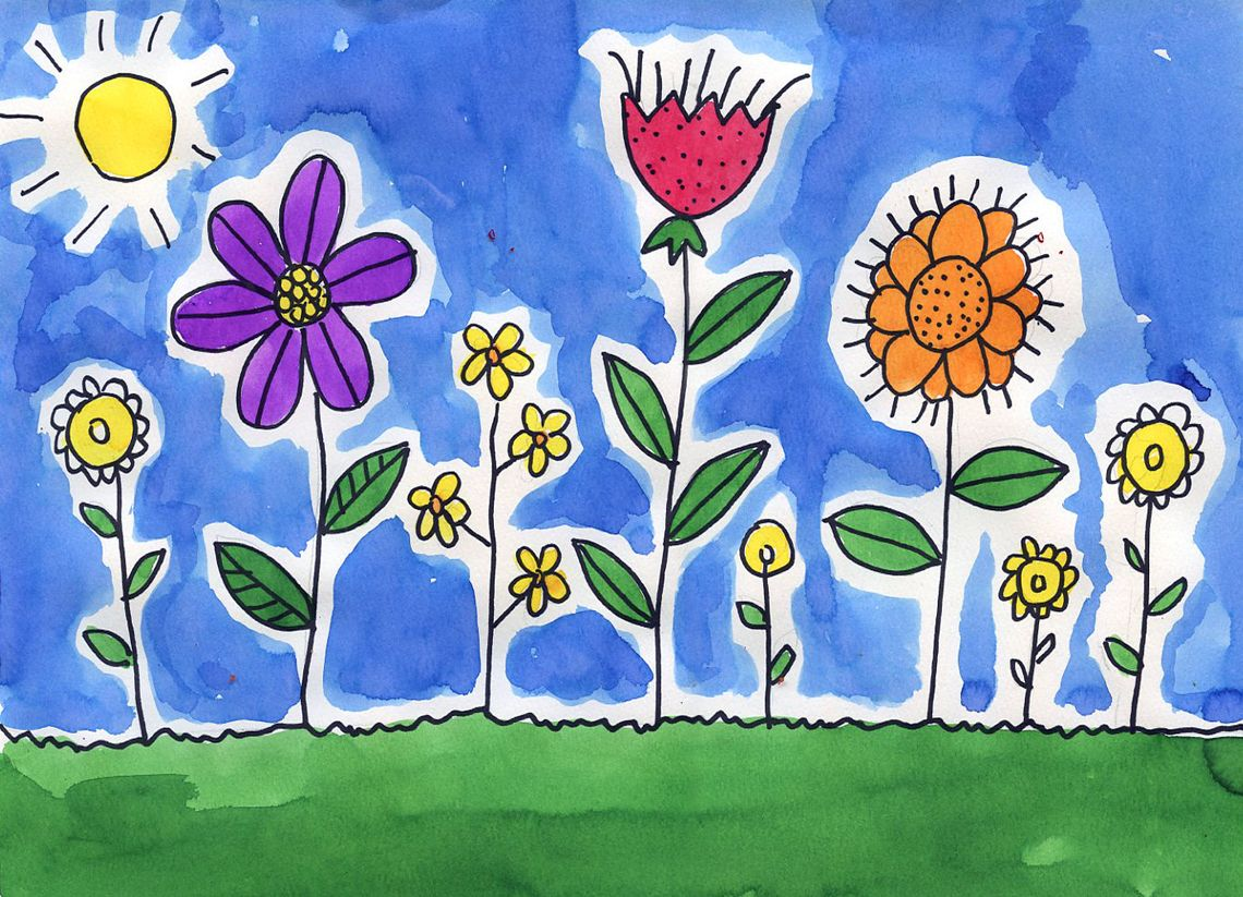 Spring Flower Watercolor Painting For Kids Spring Art Projects