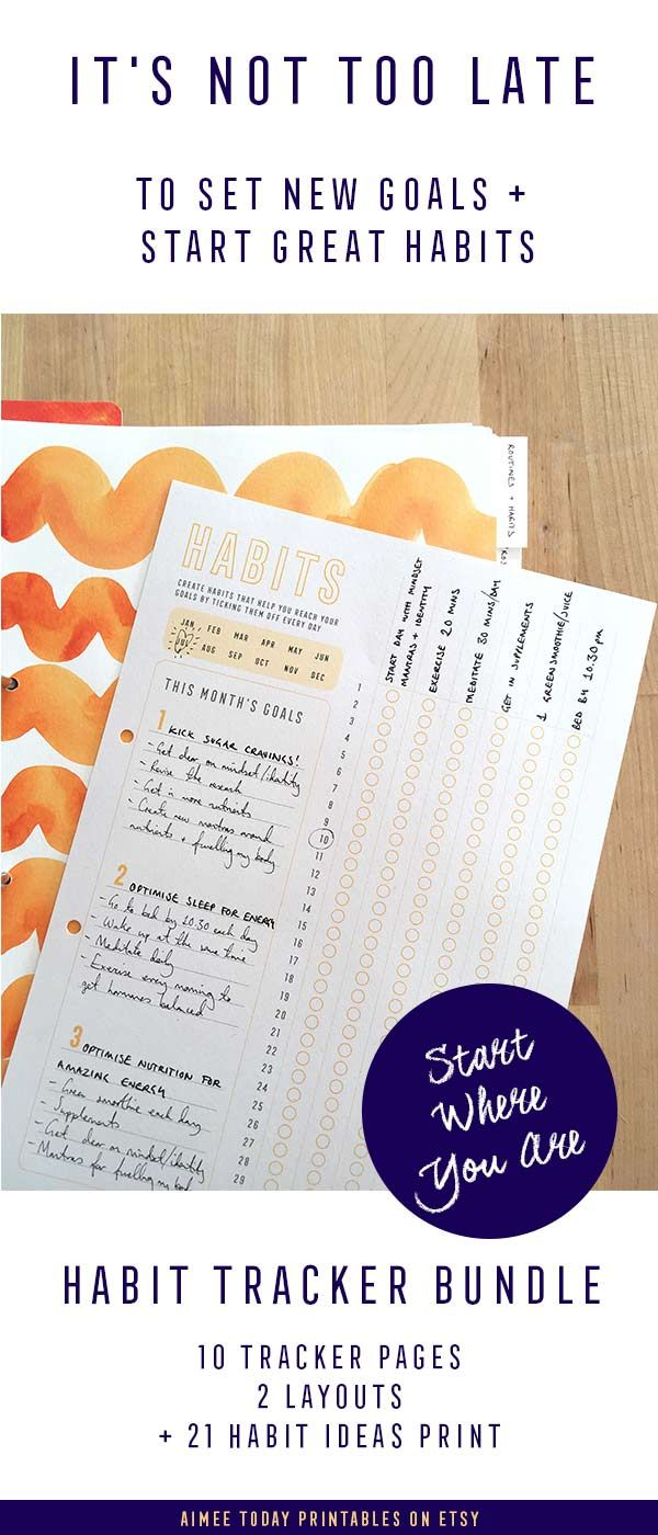 printable habit tracker kit instant download daily routine tracker