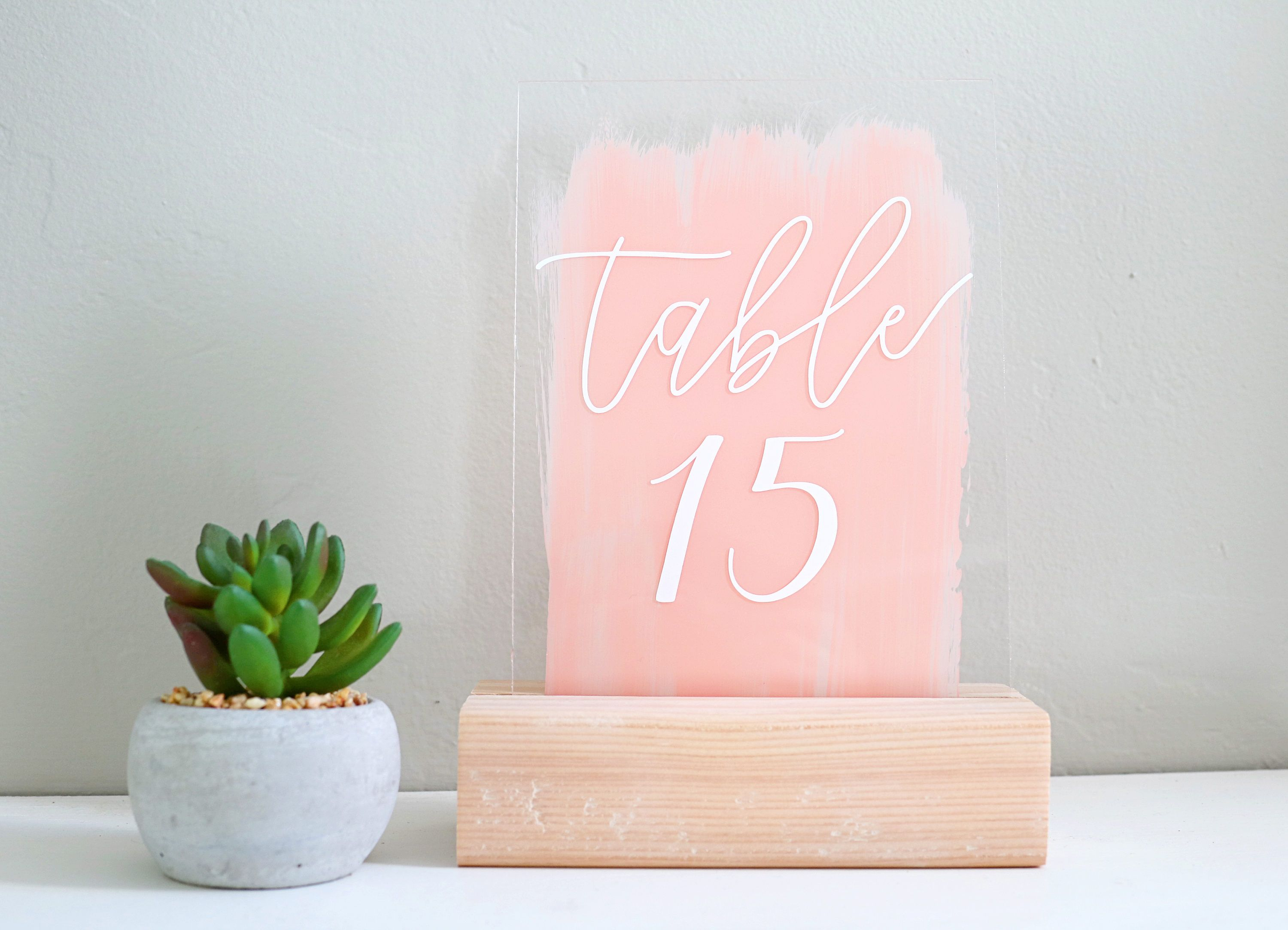 Painted acrylic table number signs! Acrylic Wedding
