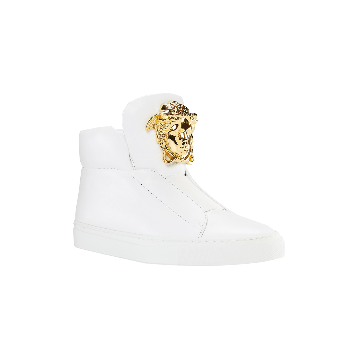 59a95db7f6f White #Versace Palazzo high-top trainers with a gold Medusa on the  tongue.#VersaceSneakers