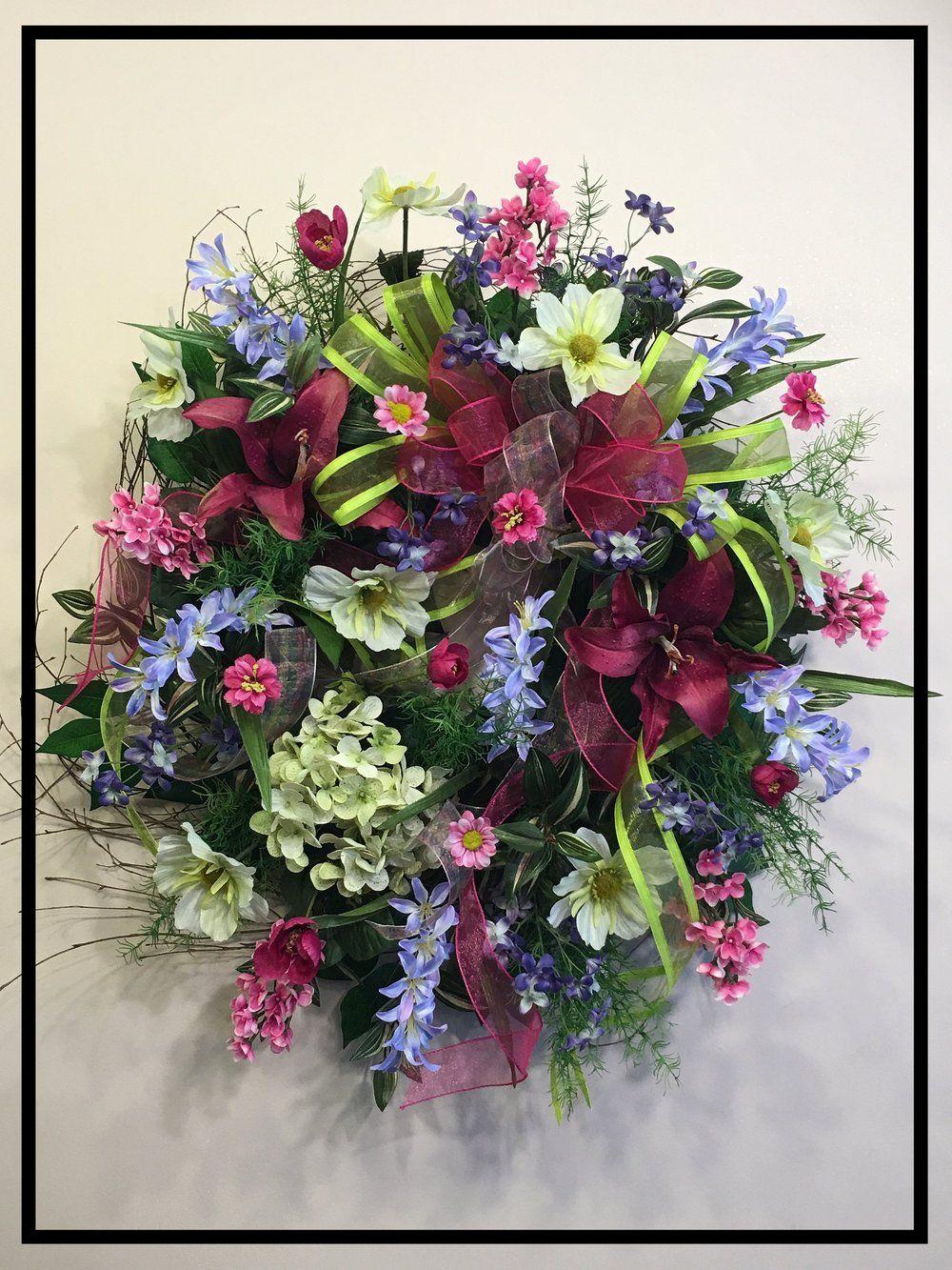 Designer silk floral wall swags front door wreaths