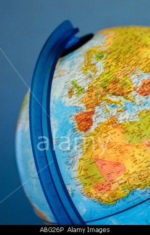 GLOBE EARTH MAP SYMBOL OF THE PLANET EARTH Stock Photo