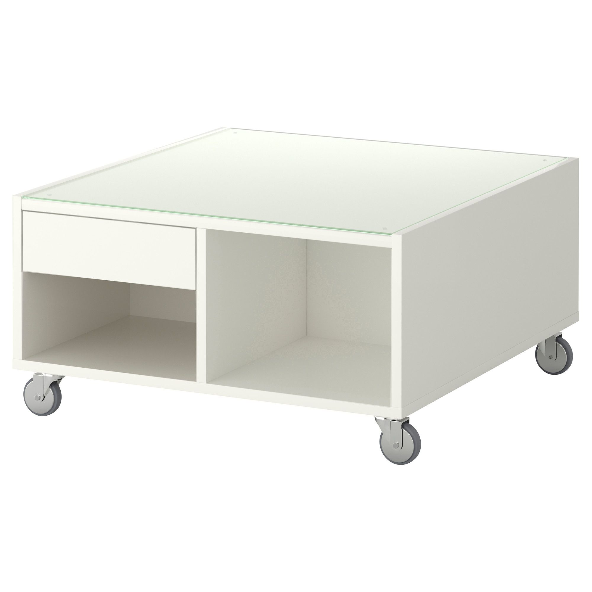$169.00 IKEA BOKSEL Coffee Table   White   Veneered Surface Gives The Table  A Natural Look And Feel. Top In Tempered Glass. Protects Surface From  Stains.