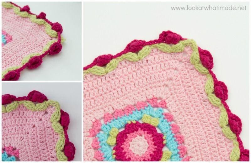 How to Crochet Rose Border   Crochet - motif - schema   Pinterest