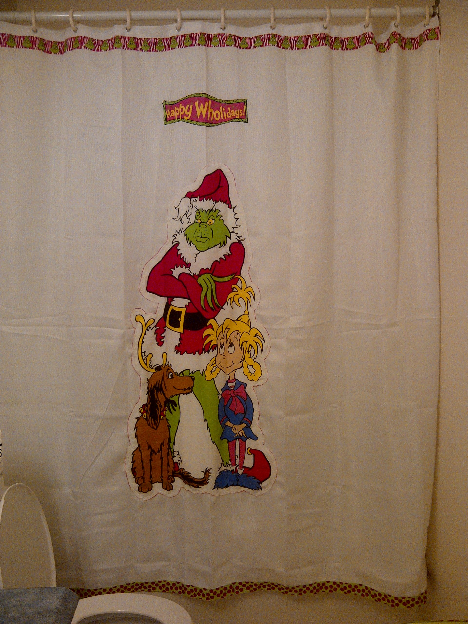 A Shower Curtain I Made Grinch Christmas Party Grinch