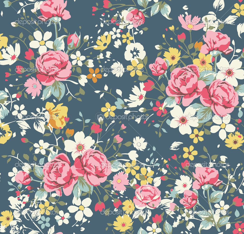 Seamless Pattern With Roses. Vintage Floral Background ... |Vintage Floral Rose Pattern