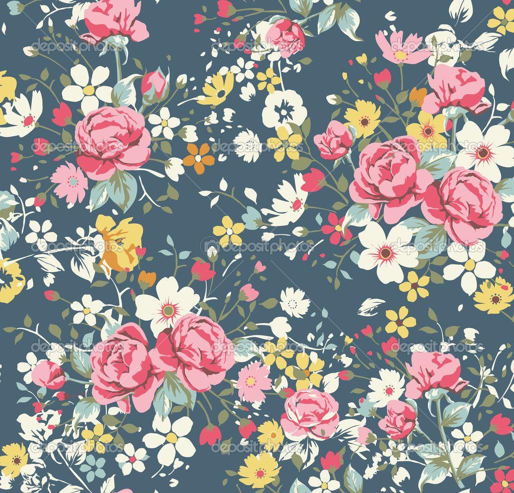 Depositphotos 23226584 Wallpaper Vintage Rose Pattern On Navy