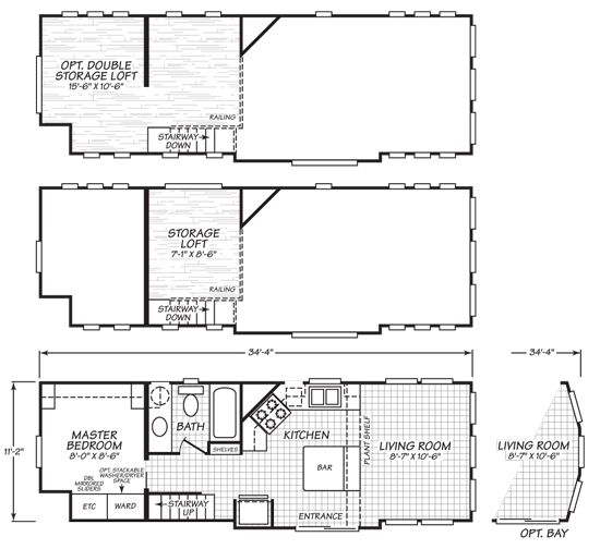 cavco virginia park model 200 tiny house floor plan 03 Guest
