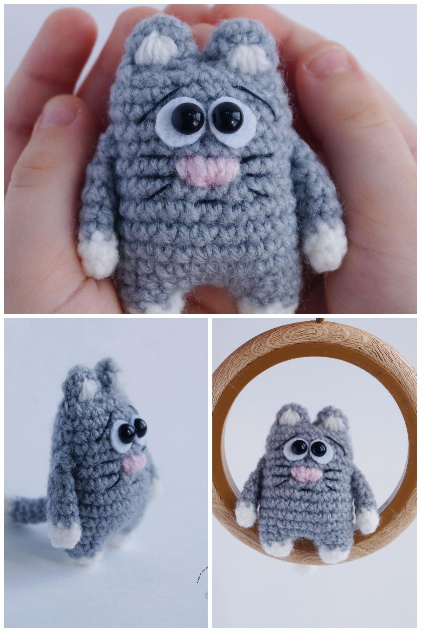 Cat brooch crochet, cat toy, keychain cat. Идеи для