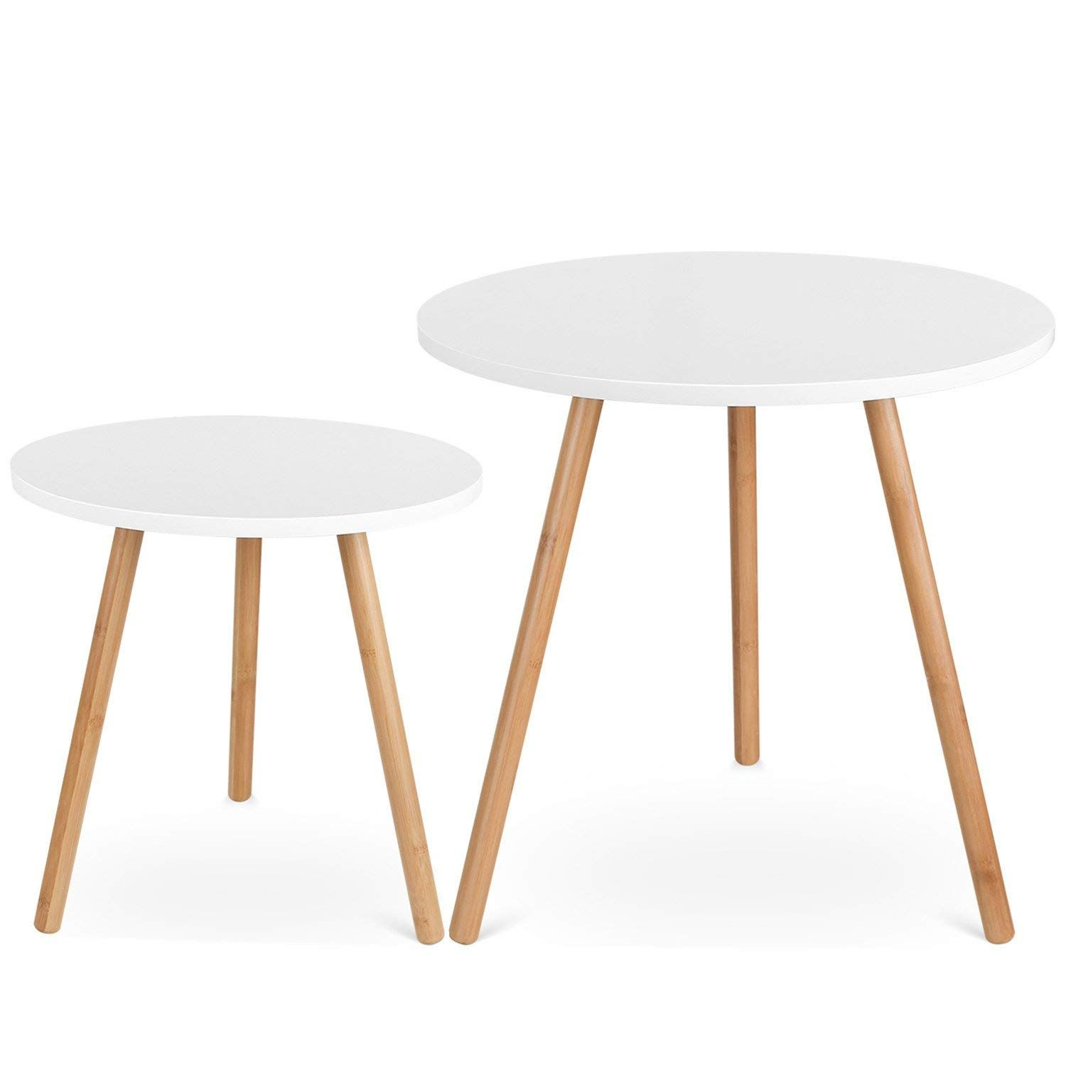 Amazon De Homfa Coffee Tables Round Side Tables Modern End Tables