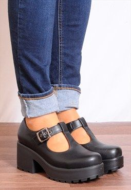 c7398968f9ef Black T-Bar Buckles Cleated Platforms Ankle Boots Shoes