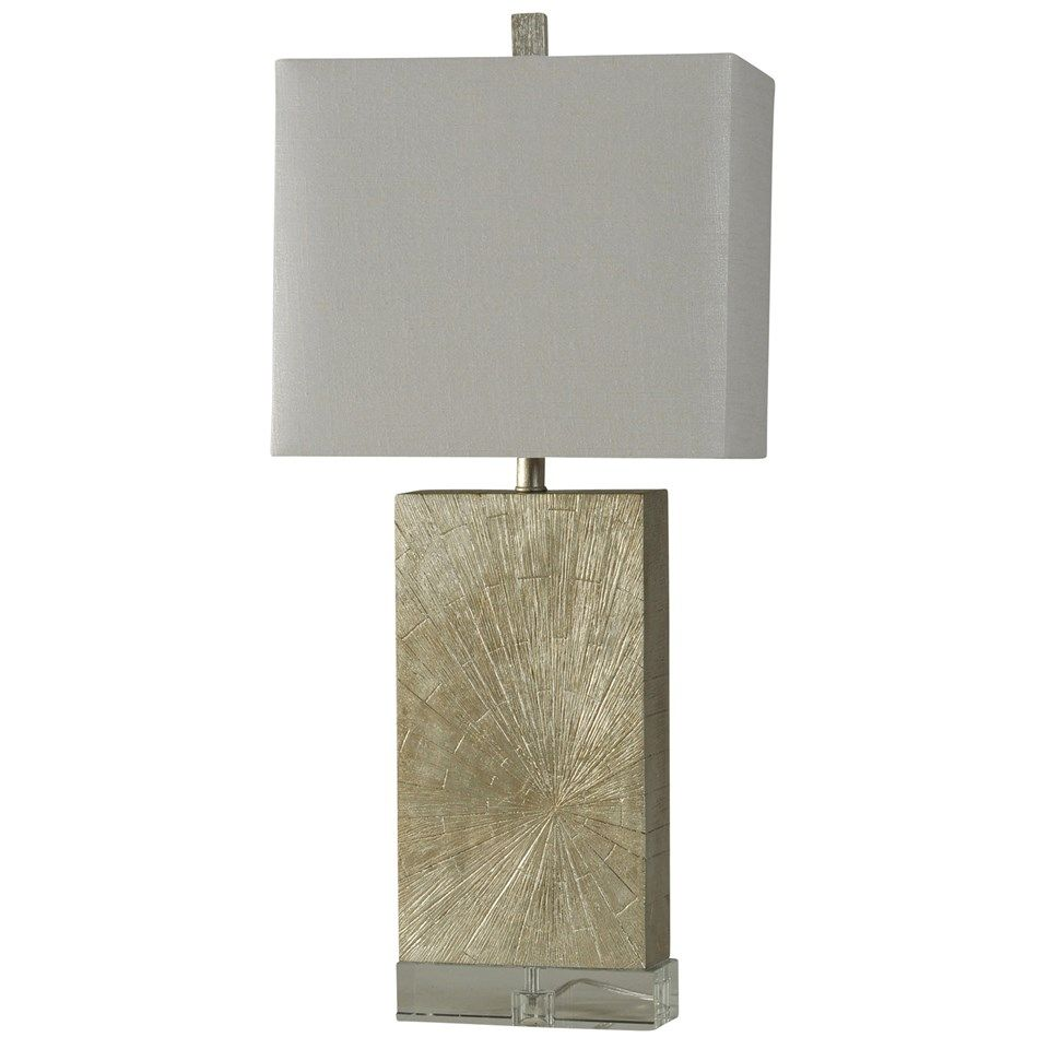 Jane Seymour Contemporary Silverwood Table Lamp On Crystal Base Rectangular  Fabric Shade (JS2594)