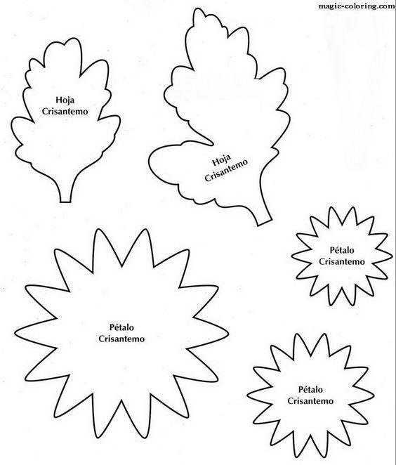 MAGIC-COLOREAR | esqueleto flor del crisantemo: | Шаблоны ...