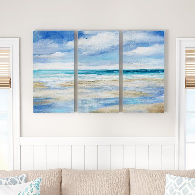 Washy Coast I 3 Piece Wrapped Canvas Acrylic Painting Set On Canvas In 2020 Gallery Wrap Canvas Acrylic Paint Set Coastal Wall Art