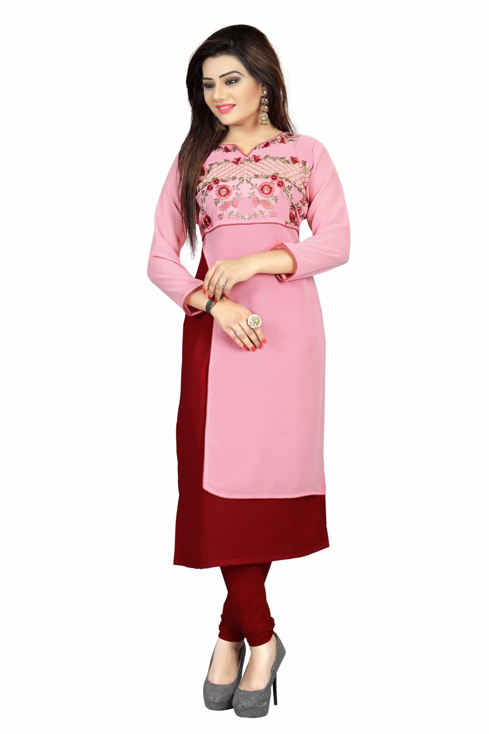 674319cb3 buy saree online Pink and Maroon Colour Faux Georgette Party Wear Kurti Buy  Saree online - Buy Sarees online