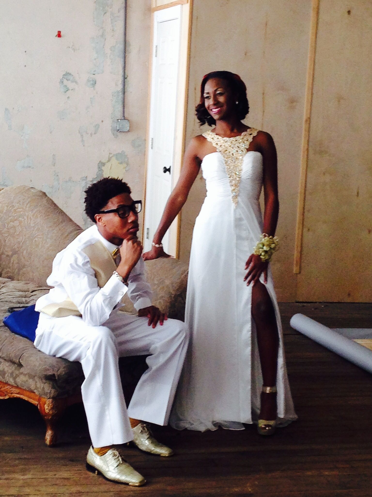 Kyra wears mac duggal style l this white prom dress feature a