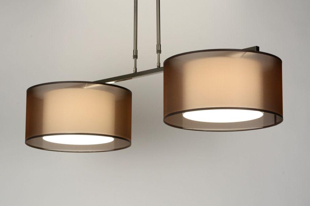 hanglamp 30125: modern, staal , rvs, stof, bruin, langwerpig ...