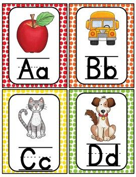 Alphabet Word Wall Cards  Abc Chart  Preschool    Abc
