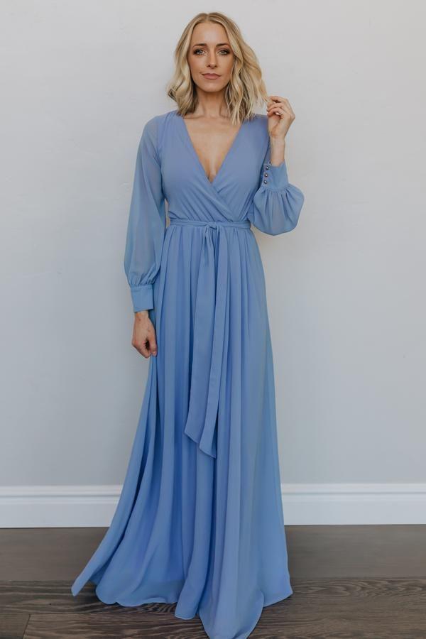 37++ Long sleeve blue dress ideas in 2021