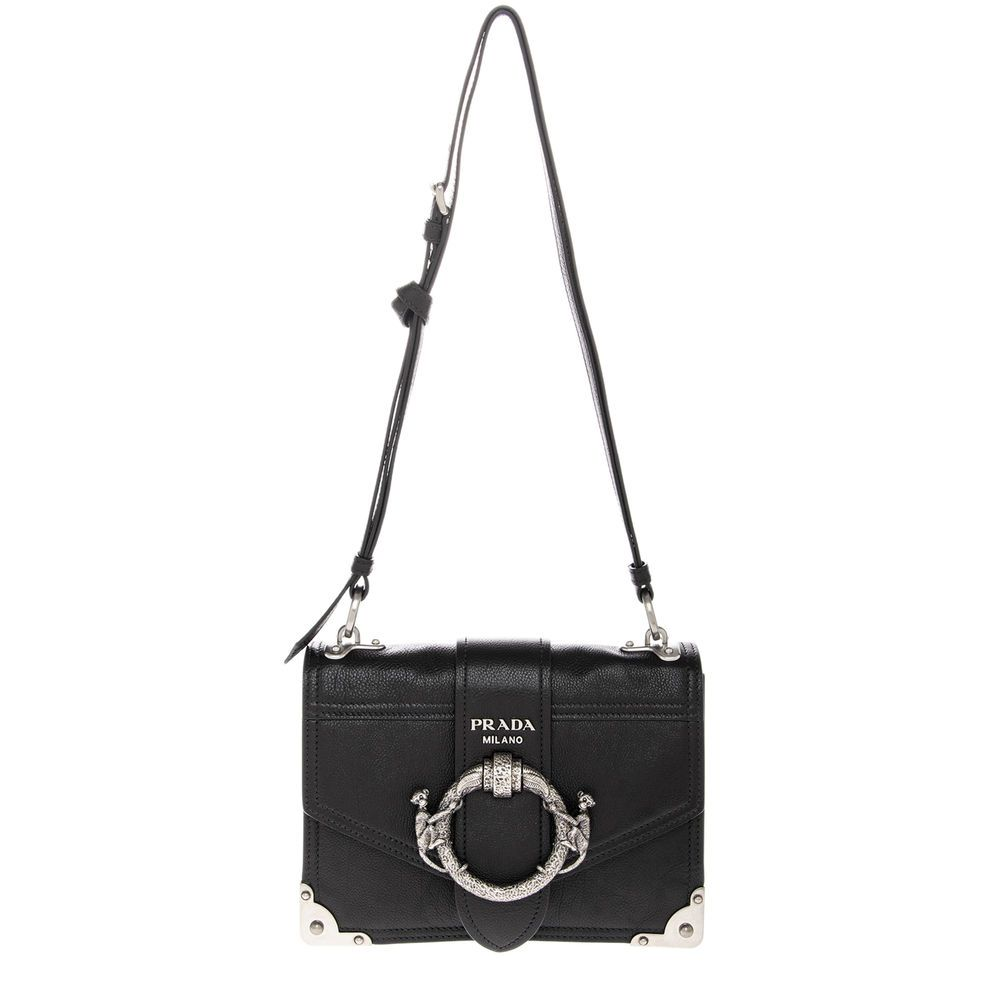 3792980e19f968 Prada Women's Cahier Monkey Buckle Shoulder Bag Black 8059593513963 | eBay