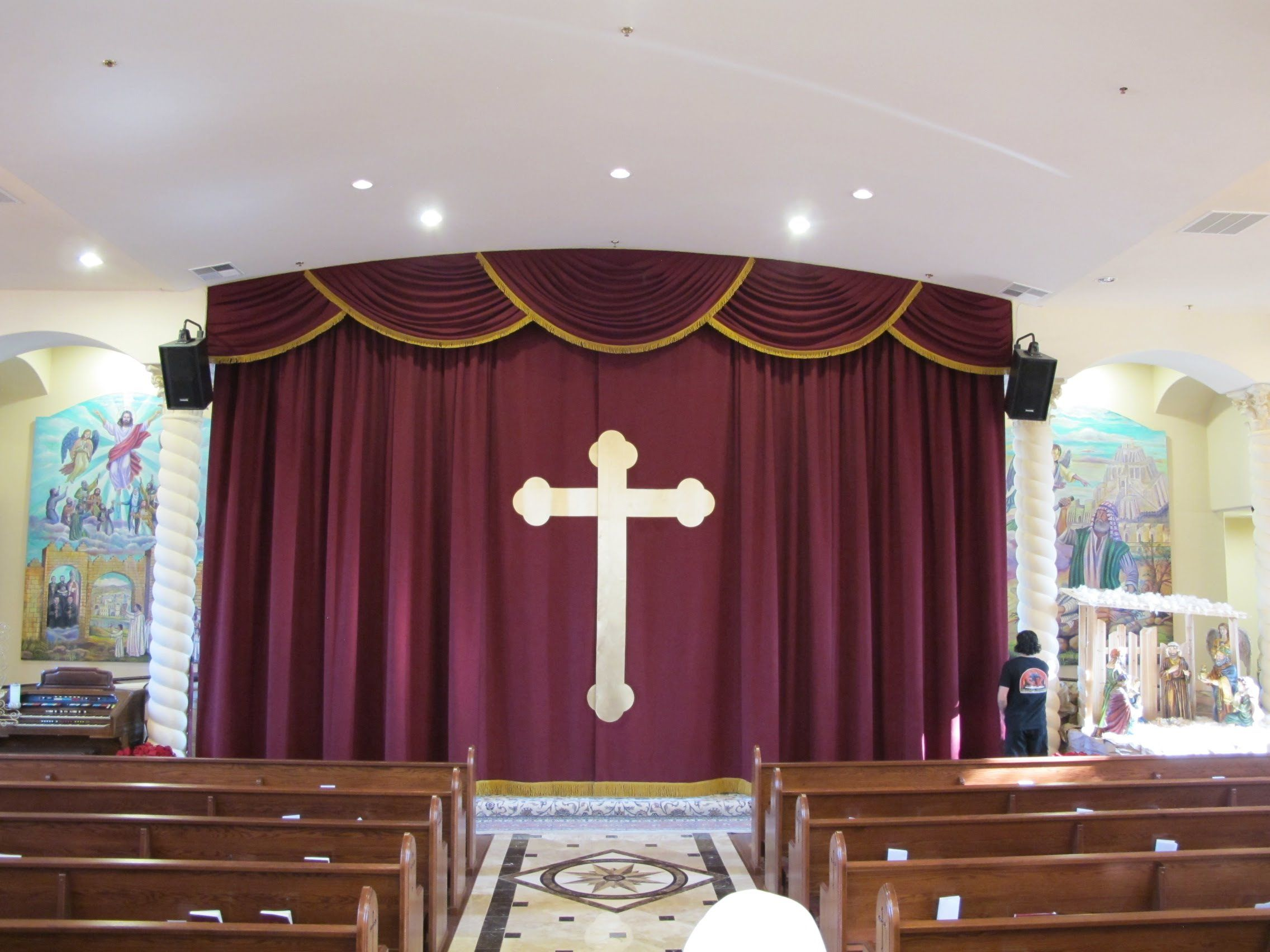 Church Altar Curtains With Cross Applique Church Stage Curtains And Swag Valance Stage Curtains Curtain Decor Curtains