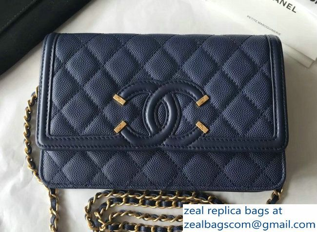63ce63fe5b91 Chanel CC Filigree Grained Calfskin Wallet On Chain WOC Bag A84451 Navy  Blue 2018