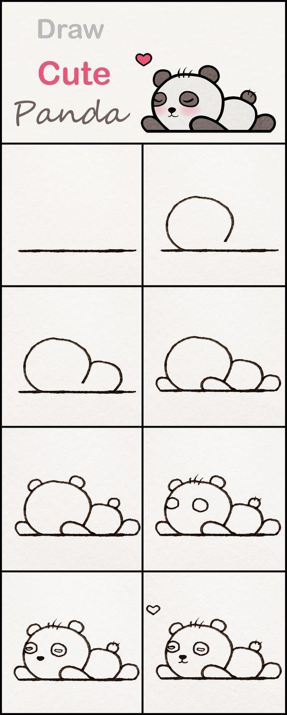 Lerne, wie man einen niedlichen Baby-Panda Schritt für Schritt zeichnet ♥ sehr einfaches Tutorial #panda #learning