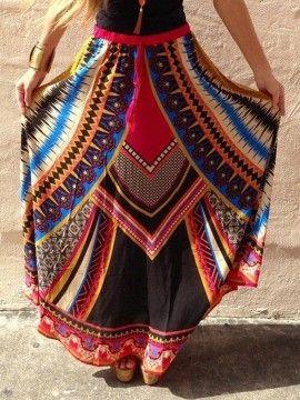 Shop Multicolor Geo Print Drawstring Waist Maxi Skirt from choies.com .Free shipping Worldwide.$19.05