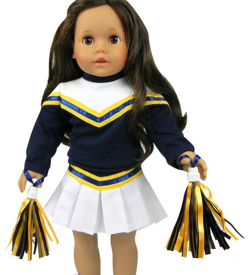 3 Piece Navy Blue/White Cheerleader Outfit for 18\