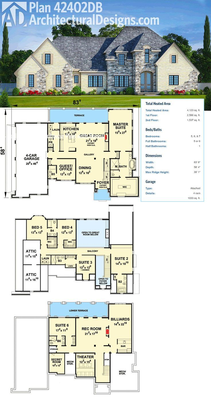 Plan 42402DB: European House Plan with Optional Finished Lower Level ...