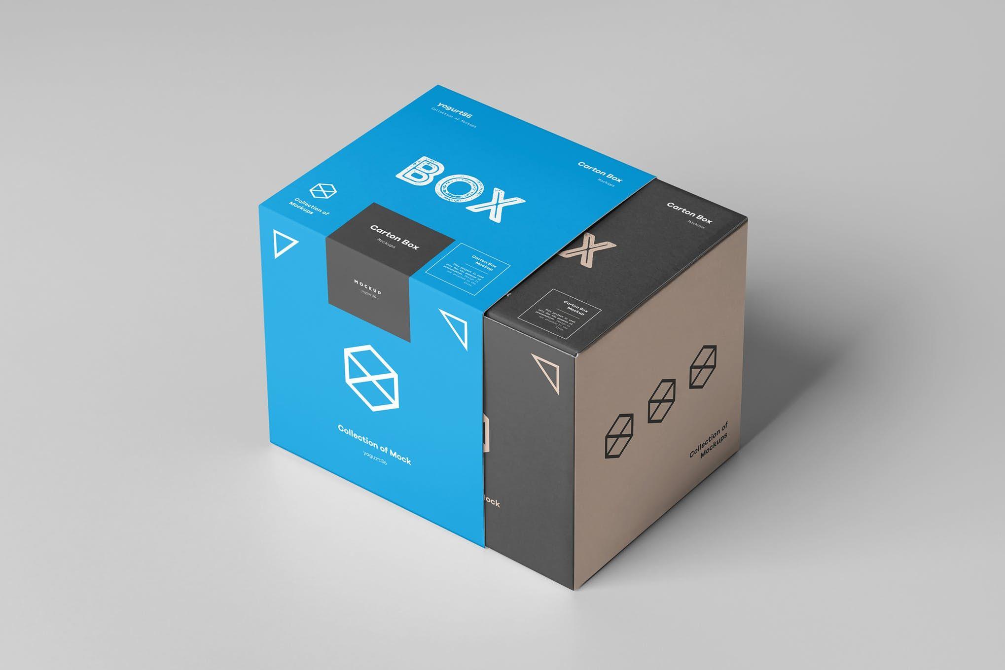 Download Carton Box Mockup 100x100x100 Wrapper By Yogurt86 On Envato Elements Box Mockup Carton Box Box Packaging Design