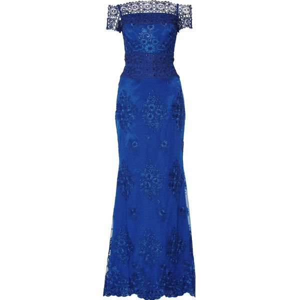 Badgley Mischka Embellished lace-paneled tulle gown (€320) ❤ liked on Polyvore featuring dresses, gowns, badgley mischka, blue, embellished evening gowns, embellished evening dress, tulle evening dress, badgley mischka gowns and tulle gown
