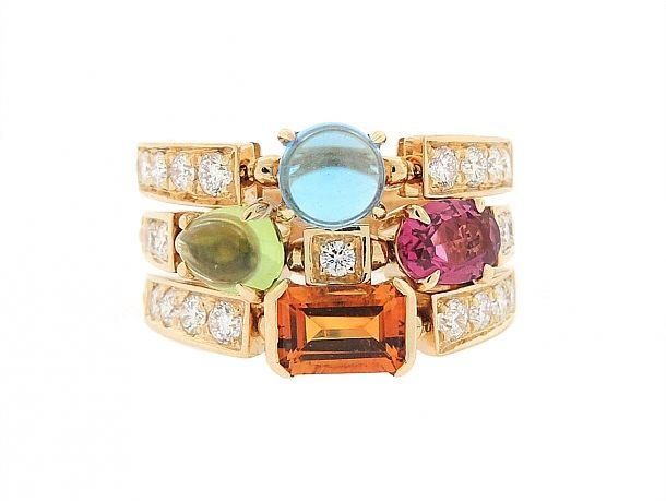 bvlgari u0027color allegra multi colored gemstone and diamond ring in 18k