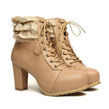 Cheap Wholesale Stylish Lace-Up and Lace Design Women's Short Boots (APRICOT,38) At Price 20.00 - DressLily.com