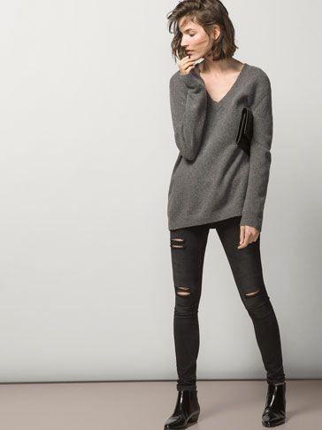 488d926fa90 OVERSIZED V-NECK SWEATER - Essential Knitwear - WOMEN - United ...