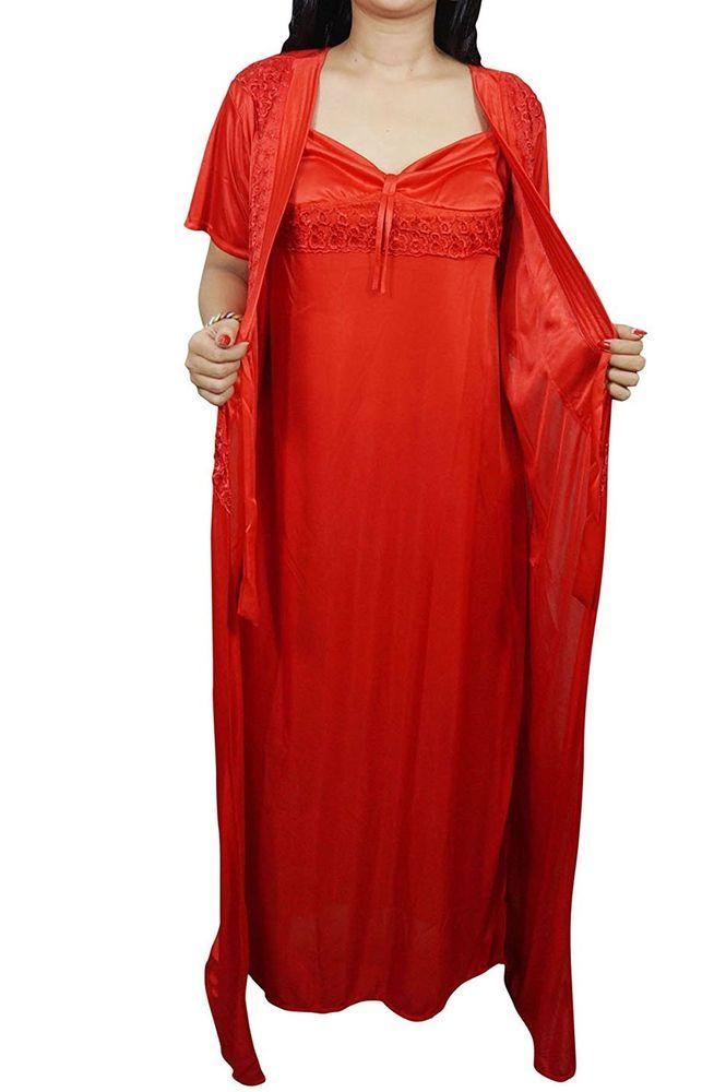 614b28338c8 Indiatrendzs Women Satin Nightwear Sexy Red Nighty 2 Pcs Set of Night Dress