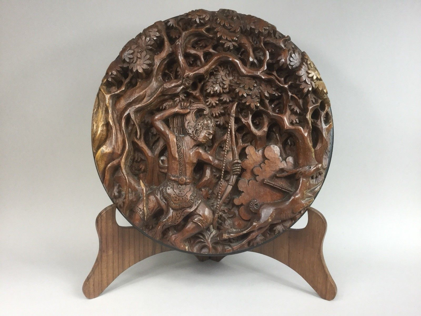 Balinese Carved Round Wooden Panel / Plaque and Stand