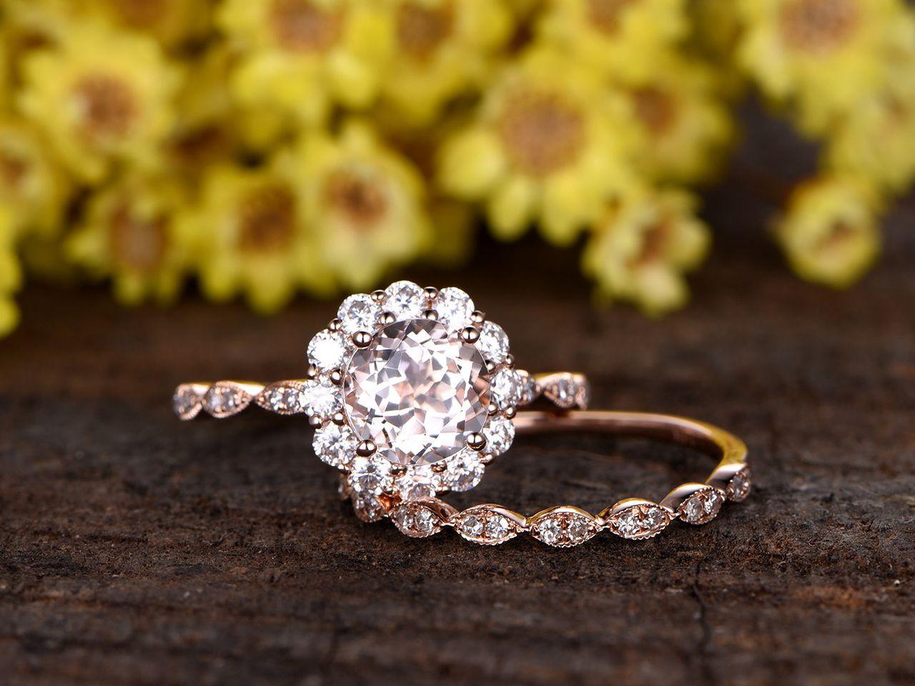 1 Carat Round Wedding Set 14k Rose Gold Flower