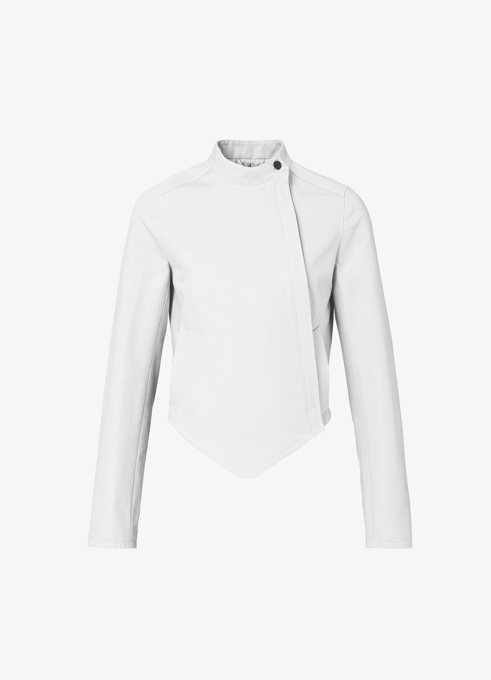 SLVR Fencing Jacket: features all the details of a classic sword-fighting uniform, including a cropped silhouette, overlapping front panels with a zip closure, and a button placket on the cuffs. A simple collar with a button closure and side welt pockets completes the look of the jacket.