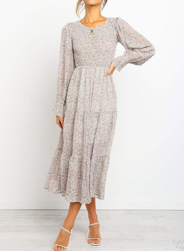 Photo of Floral Printed Shirred Long Sleeve Midi Dress