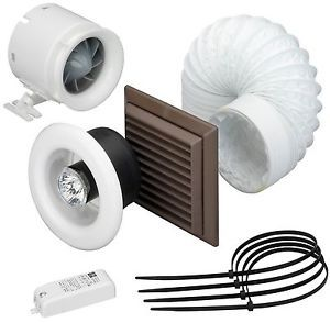 Domus Shower Fan Kit With 12v 50w Safety Light 100mm 4 Inch Safety Lights Shower Extractor Fan Shower