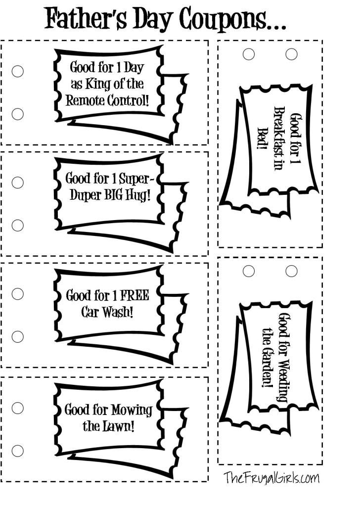 FREE Fatheru0027s Day Coupons {printable} from The Frugal Girls - coupon template free printable