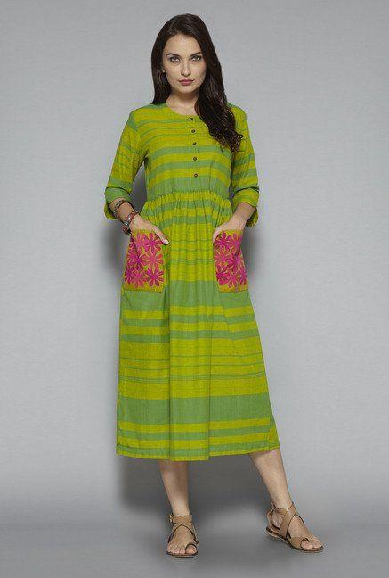 93d7faee70b Bombay Paisley by Westside Green Striped Dress Westside Kurti