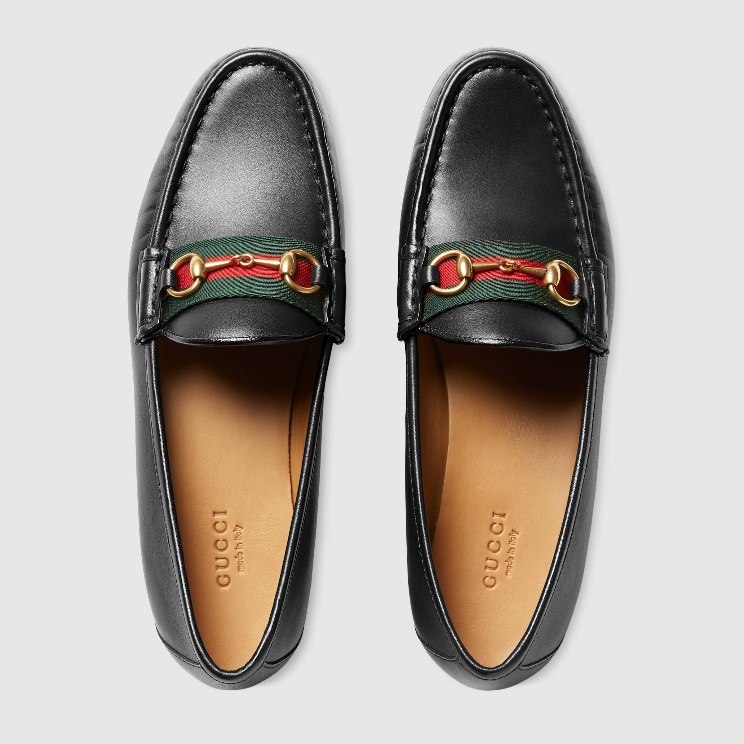 491fe329c26 Gucci Women - Gucci Black Leather horsebit loafers with web -  640.00