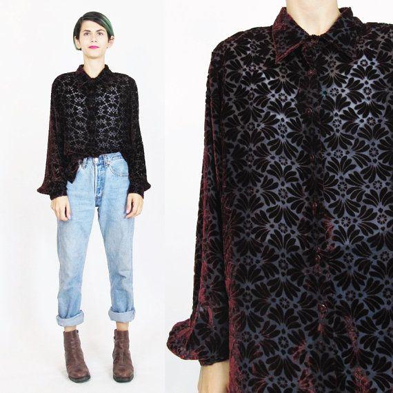 55ecb726 90s Burnout Velvet Shirt Sheer Silk Velvet Blouse by honeymoonmuse ...