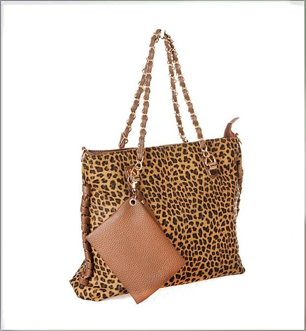 Yellow  Loepard Korean Fashion Party Handbag With A Chain And A Purse - $74.42