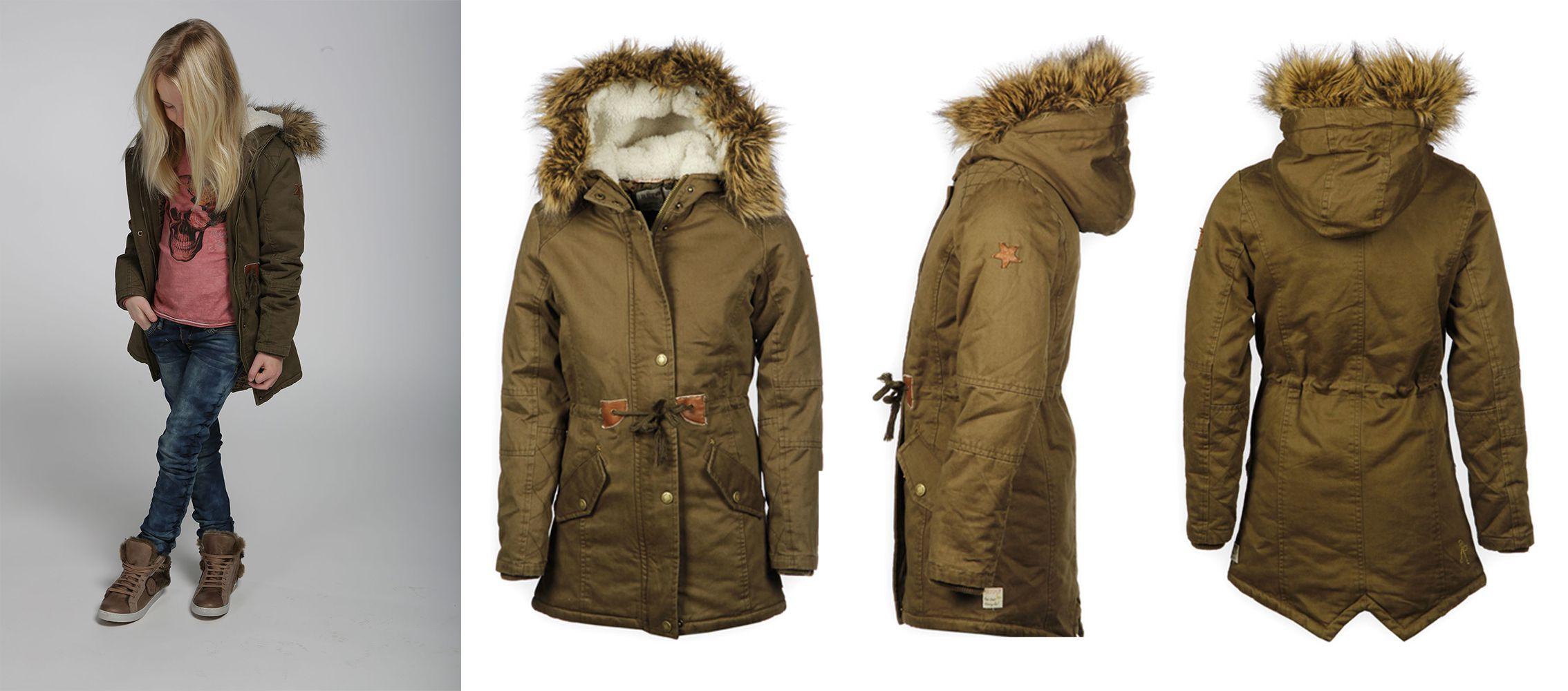 Retour Jeans Meisjes Winterjas Army Green Stoer Warm En Trendy