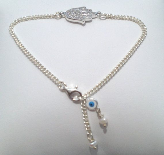 HAMSA Evil Eye Bracelet with Pearl Accents   by JaBellaJewels, $68.00