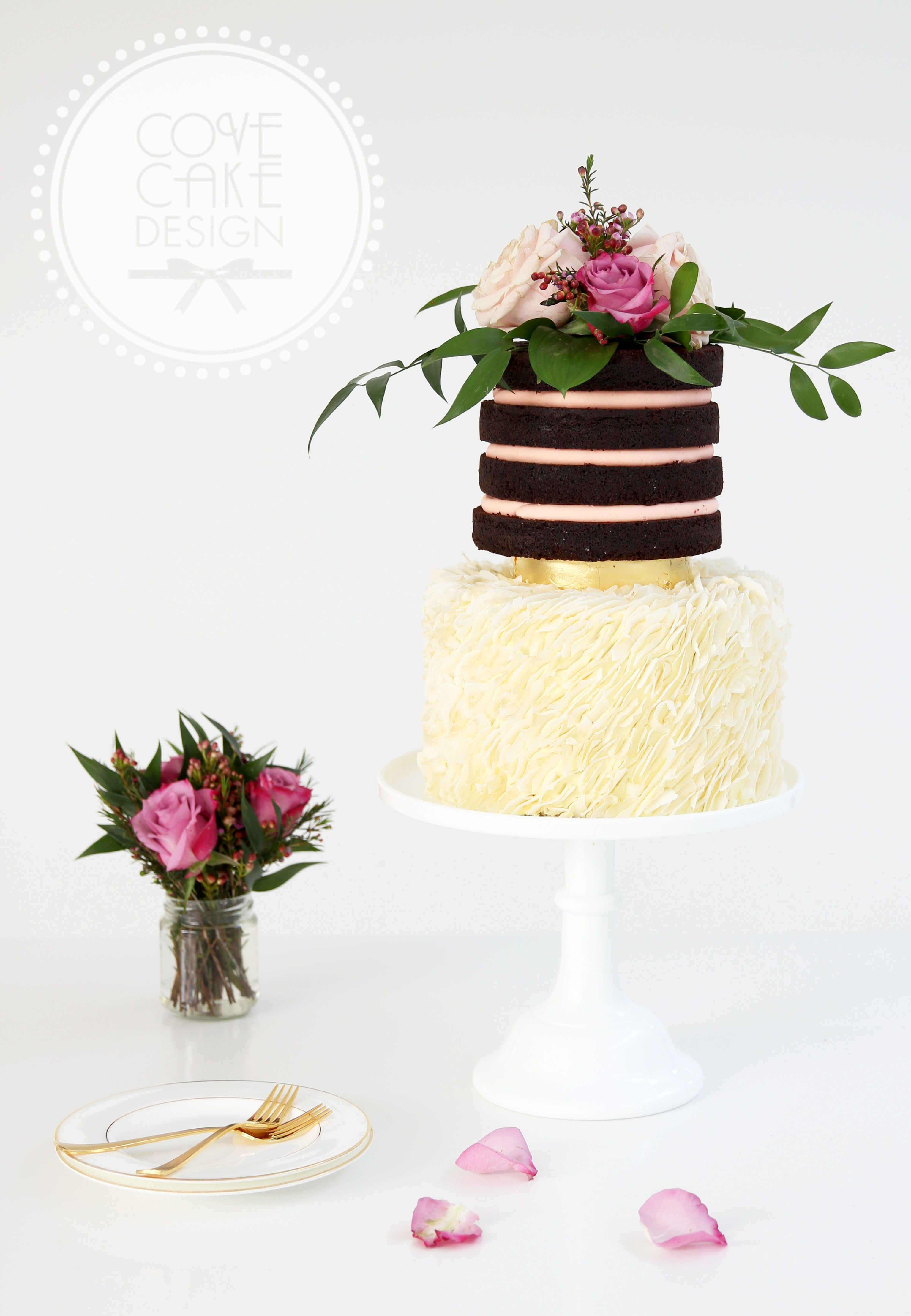 Coconut ruffles, gold leaf and naked chocolate cake with fresh ...